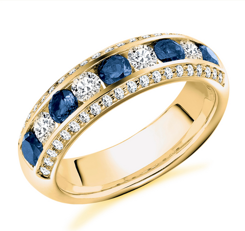 Campbell Jewellers 18ct Yellow Gold Sapphire & Diamond Wedding/Eternity Ring 1.35ct