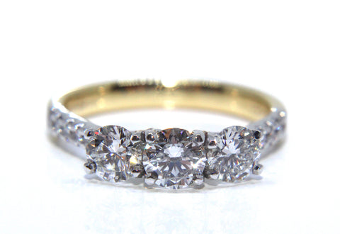 Campbell 18ct Gold Round Diamond Trilogy Engagement Ring 1.05ct