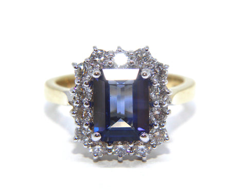 Campbell 18ct Yellow & White Gold Octagon Sapphire & Diamond Ring 3.34ct