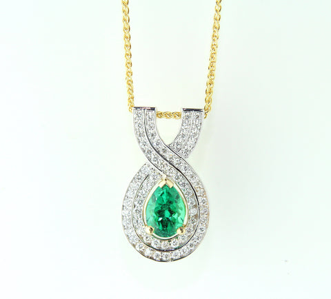 Campbell 18ct Emerald & Diamond Pendant 1.20ct