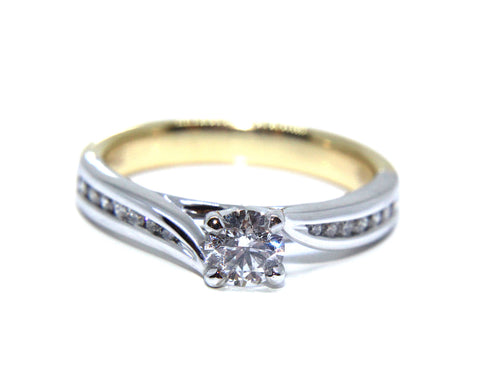 18ct Yellow & White Round Brilliant Diamond Channel Set Twist Engagement Ring 0.58ct - Campbell Jewellers