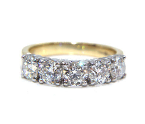 Campbell 18ct Gold Round Brilliant Five Diamond Engagement/Eternity Ring 1.85ct