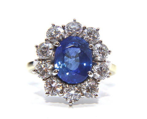 18ct Gold Oval Blue Sapphire Diamond Cluster Ring 6.20ct - Campbell Jewellers