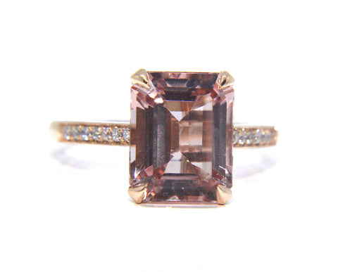 18ct Rose Gold Octagon Morganite & Diamond Ring 3.30ct - Campbell Jewellers