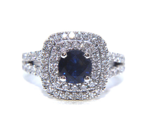 18ct White Gold Blue Sapphire Double Halo Diamond Ring 2.46ct - Campbell Jewellers