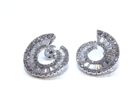 Campbell Jewellers Fine 18ct White Gold Baguette & Round Diamond Earrings