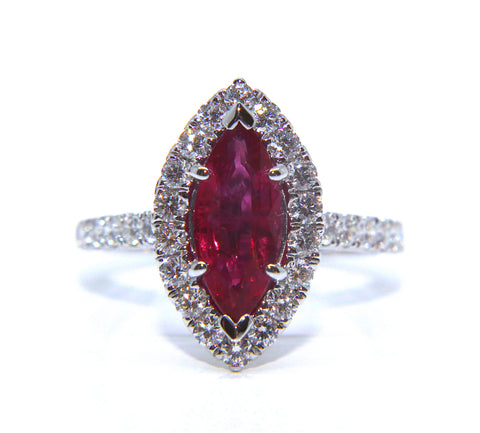 18ct White Gold Marquise Ruby Diamond Ring 2.41ct - Campbell Jewellers