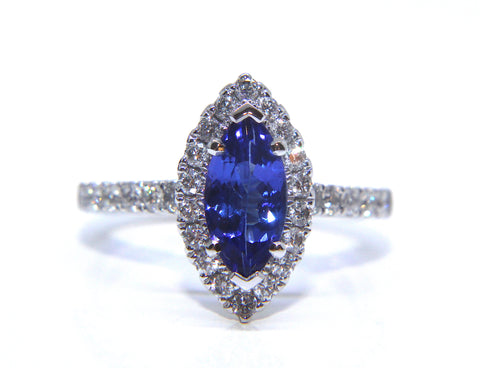 18ct White Gold Marquise Tanzanite Halo Diamond Ring 1.93ct - Campbell Jewellers