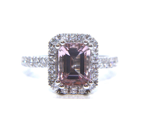 18ct Pink Emerald Cut Morganite & Diamond Engagement Ring 2.52ct - Campbell Jewellers