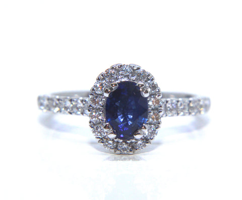 18ct White Gold Oval Blue Sapphire Halo Diamond Ring 1.47ct - Campbell Jewellers