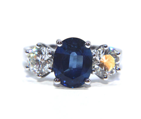 18ct White Gold Oval Blue Sapphire Diamond Ring 3.85ct - Campbell Jewellers