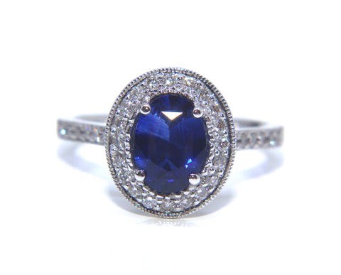 18ct White Gold Oval Blue Sapphire Diamond Ring 1.32ct - Campbell Jewellers