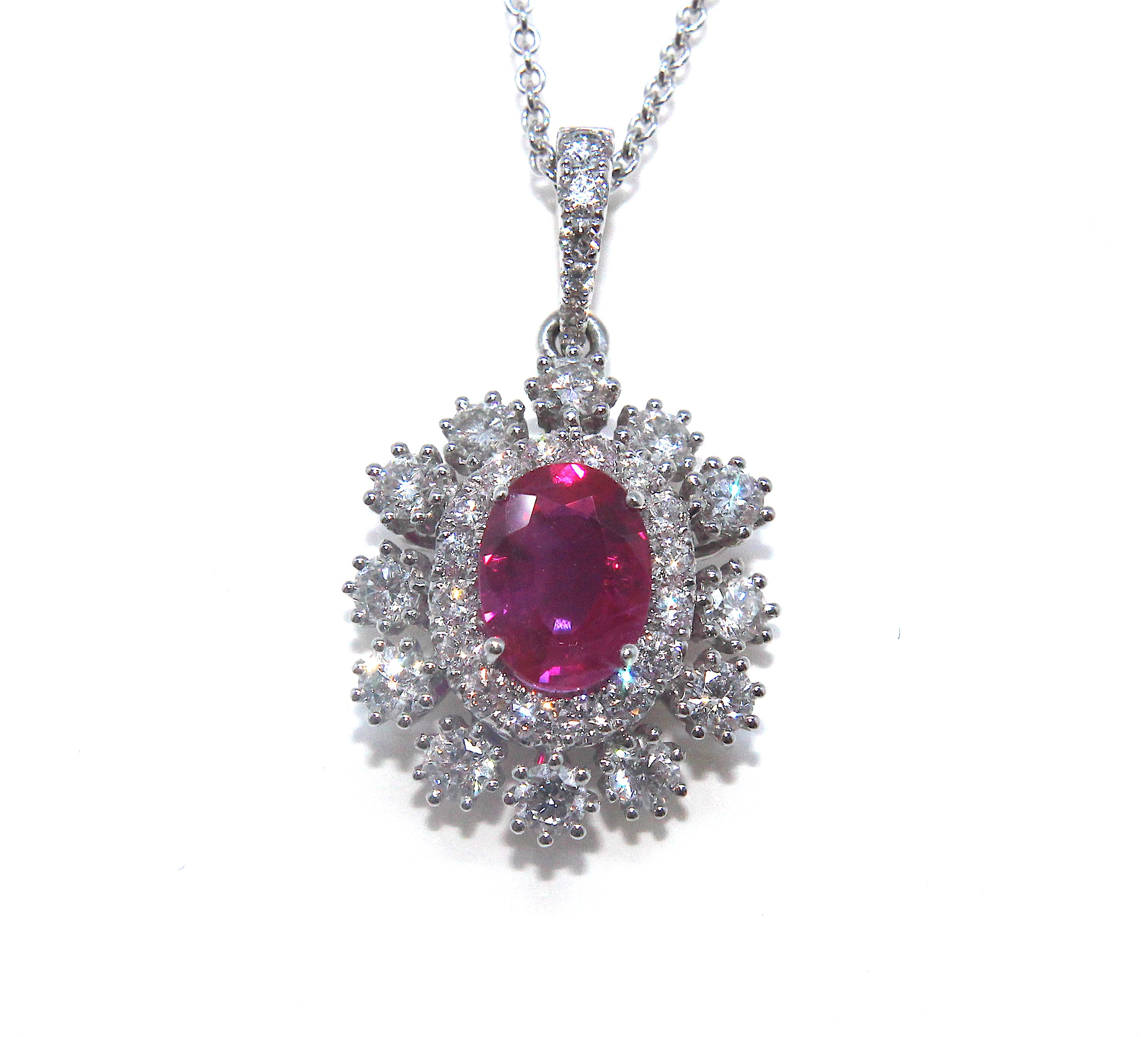 oval gold jewellers necklace pendant dublin red diamond campbell fine white baguette jewellery ruby products