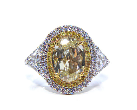 18ct White Gold Oval Yellow Diamond Ring 2.85ct - Campbell Jewellers