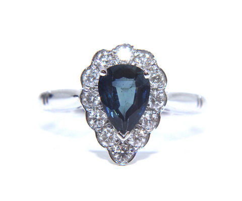 18ct White Gold Blue Sapphire Pear Diamond Engagement Ring 1.26ct - Campbell Jewellers