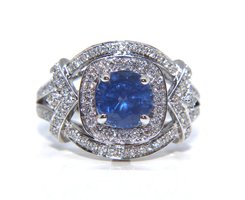 18ct White Gold Round Blue Sapphire Diamond Ring 2.34ct - Campbell Jewellers