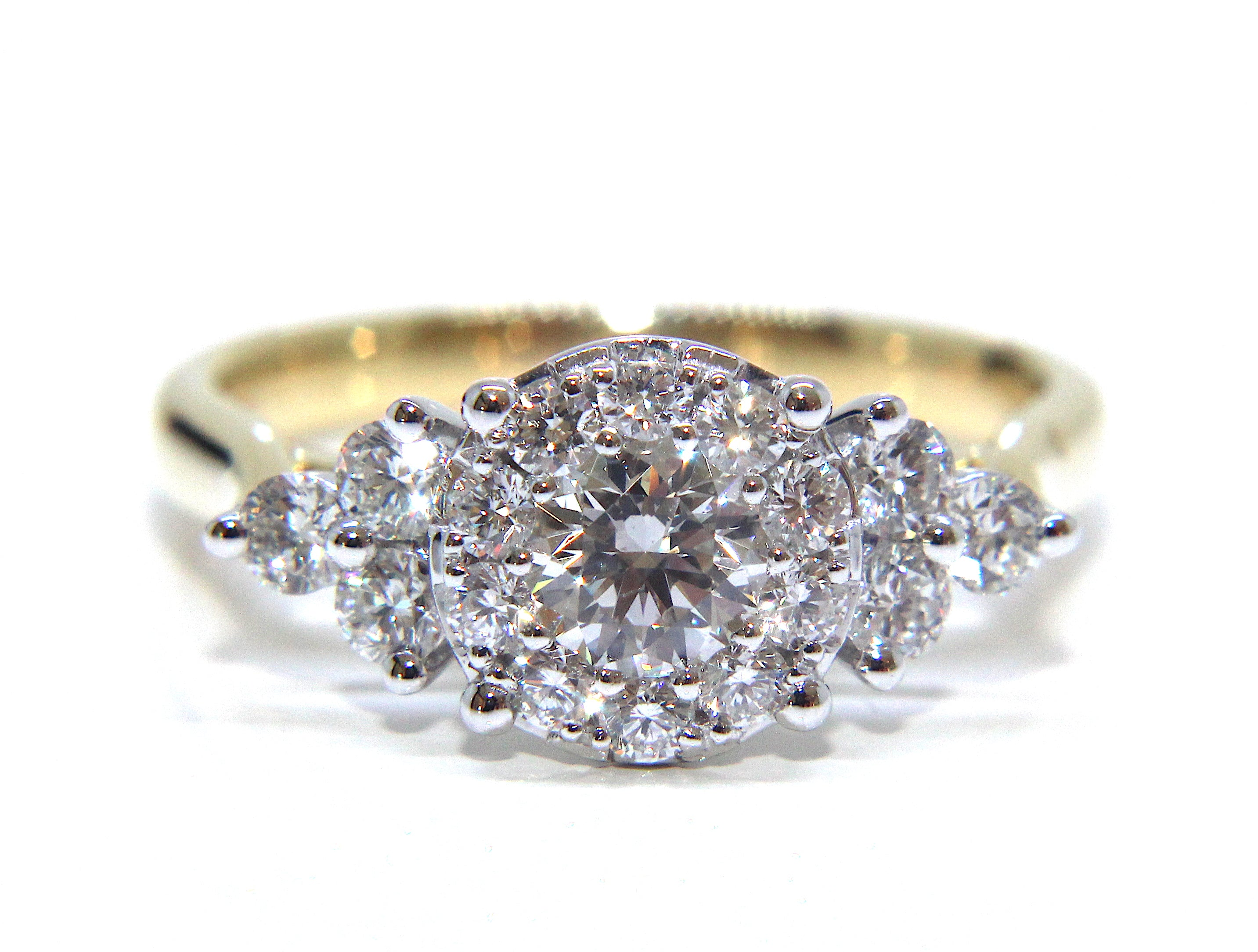 ring fancy b dia rg diamond ladies gold itm engagement brilliant wedding rings round cut cluster