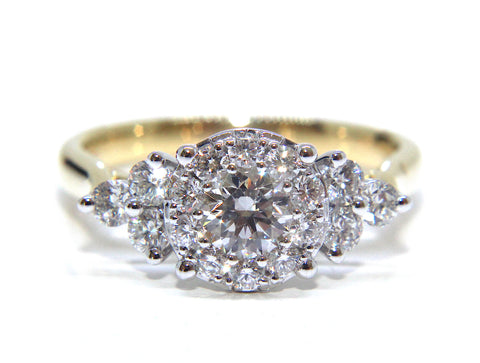 18ct Yellow & White Gold Cluster Diamond Ring 1.00ct - Campbell Jewellers