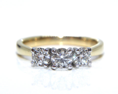 18ct Yellow & White Gold Trilogy Diamond Ring 1.00ct - Campbell Jewellers