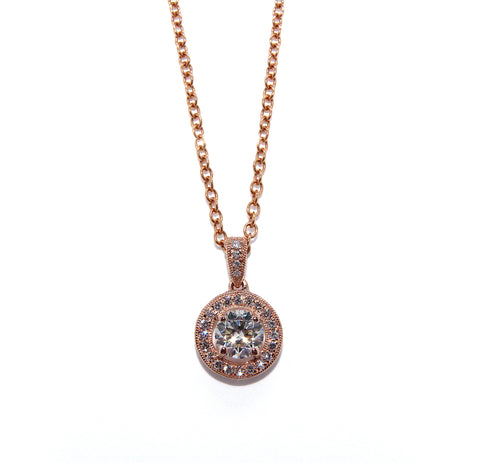 Fine Diamond Vintage Inspired Rose Halo Necklace 0.64ct