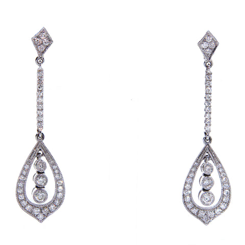 Fine Diamond Vintage Inspired Drop Earrings 0.69ct