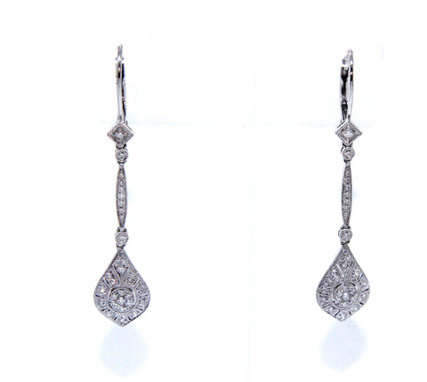 Fine Diamond Vintage Inspired Drop Earrings 0.42ct | Campbell Jewellers