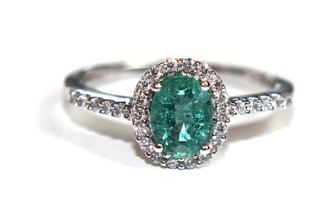 Campbell Emerald & Diamond Oval Halo Ring 1.00ct - Campbell Jewellers  - 1