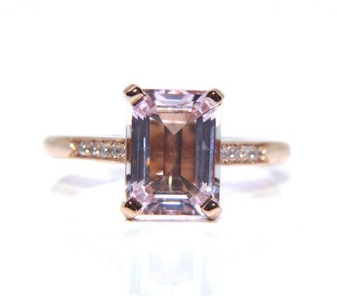 18ct Rose Gold Octagon Morganite & Diamond Ring 2.10ct - Campbell Jewellers