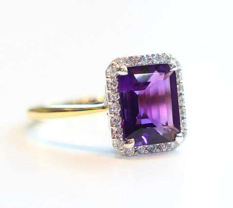 Campbell Amethyst Emerald Cut Diamond Ring in 18ct White & Yellow Gold - Campbell Jewellers  - 1
