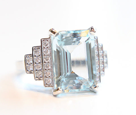 Aquamarine & Diamond Art Deco Cocktail Ring 7.39ct in 18ct White Gold - Campbell Jewellers  - 1