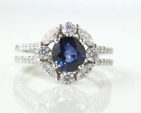 Campbell Blue Round Cut Sapphire & Diamond Engagement/Eternity Ring 2.51ct