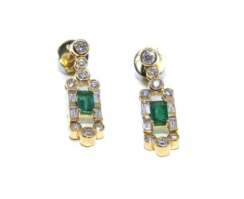 Campbell Fine 18ct Yellow Gold Emerald Gatsby Diamond Drop Earrings 1.44ct