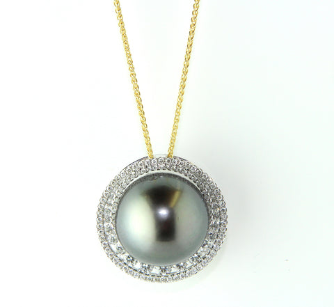 Campbell Fine Grey Pearl 15mm 18ct Gold & Diamond Necklace
