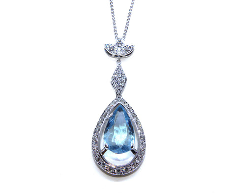 Campbell Fine 18ct White Gold Aquamarine Diamond Necklace 5.58ct