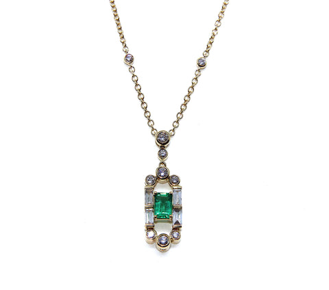 Campbell Fine 18ct Yellow Gold Emerald Gatsby Diamond Necklace 1.19ct