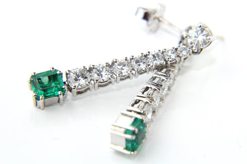Campbell Fine Diamond & Emerald Drop Earrings