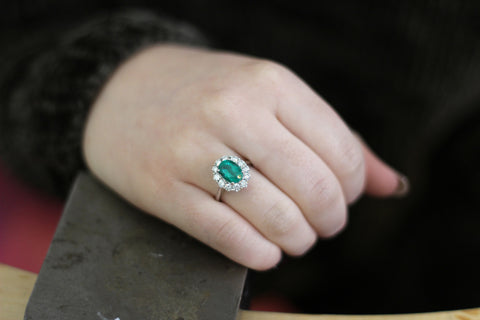 Campbell Classic Emerald & Diamond Cluster Ring