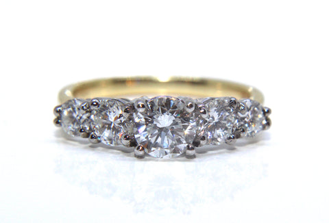 18ct Gold Round Brilliant Graduated Five Diamond Eternity Ring 1.66ct Campbell Jewellers