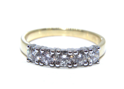 Campbell 18ct Gold Five Diamond Engagement/Eternity Ring 0.83ct