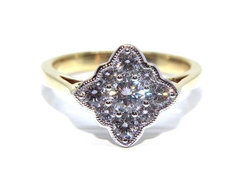18ct Gold Vintage Inspired Diamond Engagement Ring 0.89ct - Campbell Jewellers