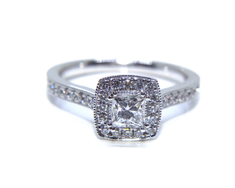 Campbell 18ct White Gold Princess Vintage Halo Diamond Engagement Ring 0.76ct