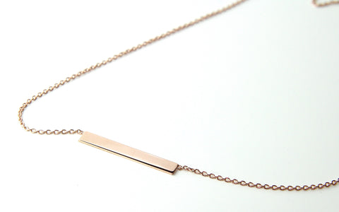 9ct Rose Gold Engravable Bar Pendant - Campbell Jewellers  - 1