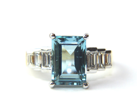 Campbell Aquamarine Diamond Baguette Cocktail Ring 3.83ct
