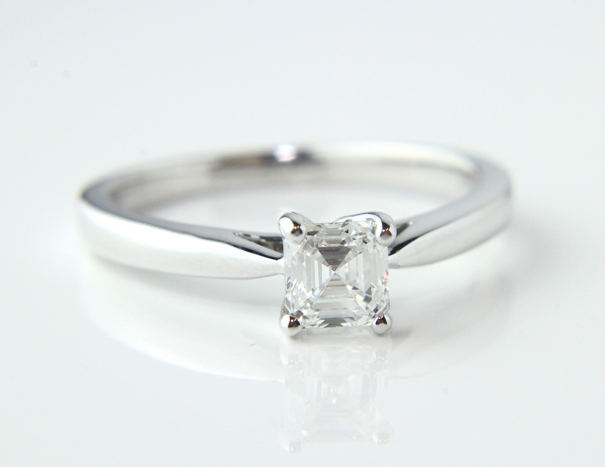 asscher diamond halo rings magnifying glass ring jewellers whitakers cut engagement