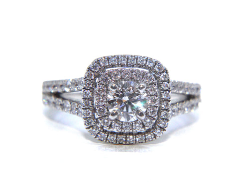 Campbell 18ct White Gold Double Halo Diamond Engagement Ring 1.17ct