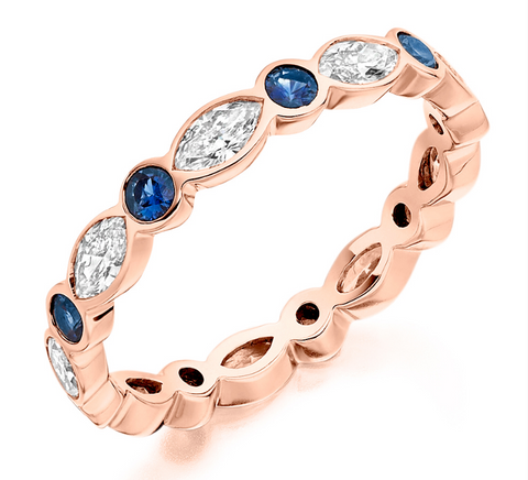 Campbell Jewellers 18ct Rose Gold Marquise Diamond & Sapphire Wedding/Eternity Ring 1.28ct