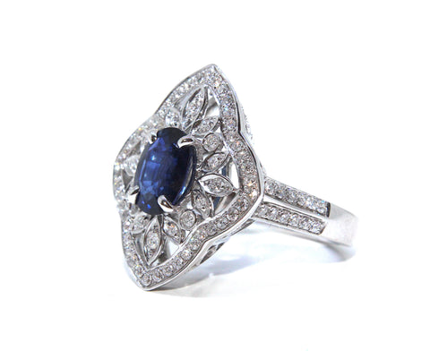 Campbell French Belle Époque Inspired 18ct Sapphire & Diamond Ring 2.56ct