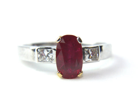 Campbell Ruby Oval Diamond Engagement/Eternity Ring 1.96ct