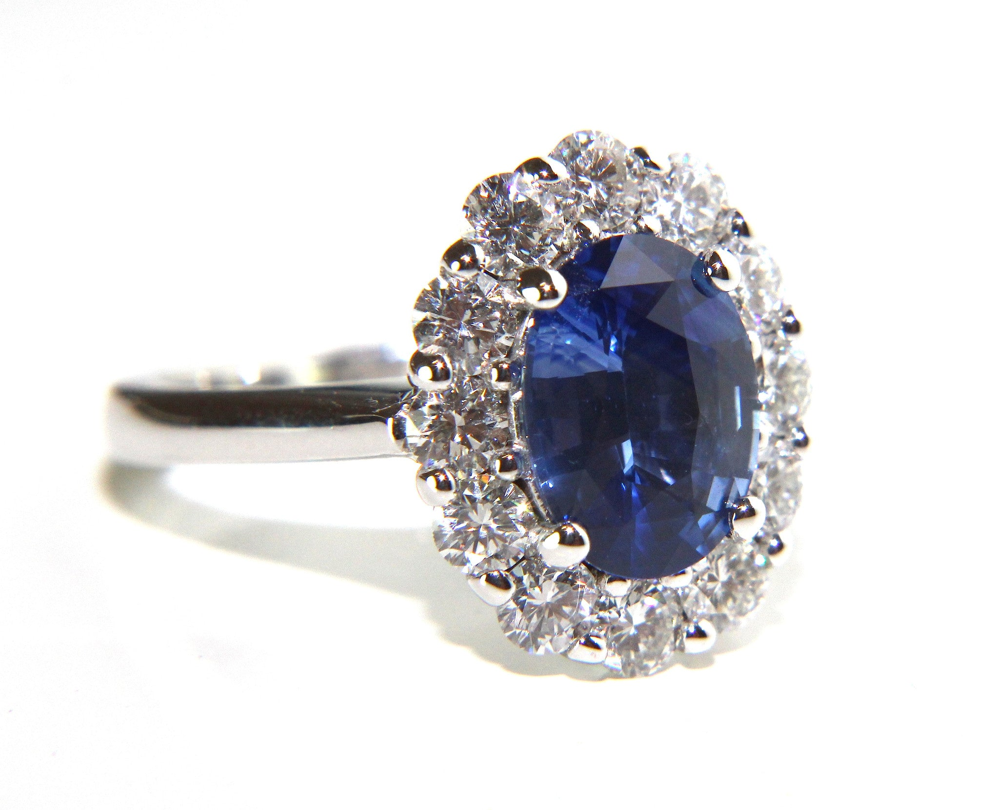 Campbell Oval Blue Sapphire Amp Diamond Cluster Engagement