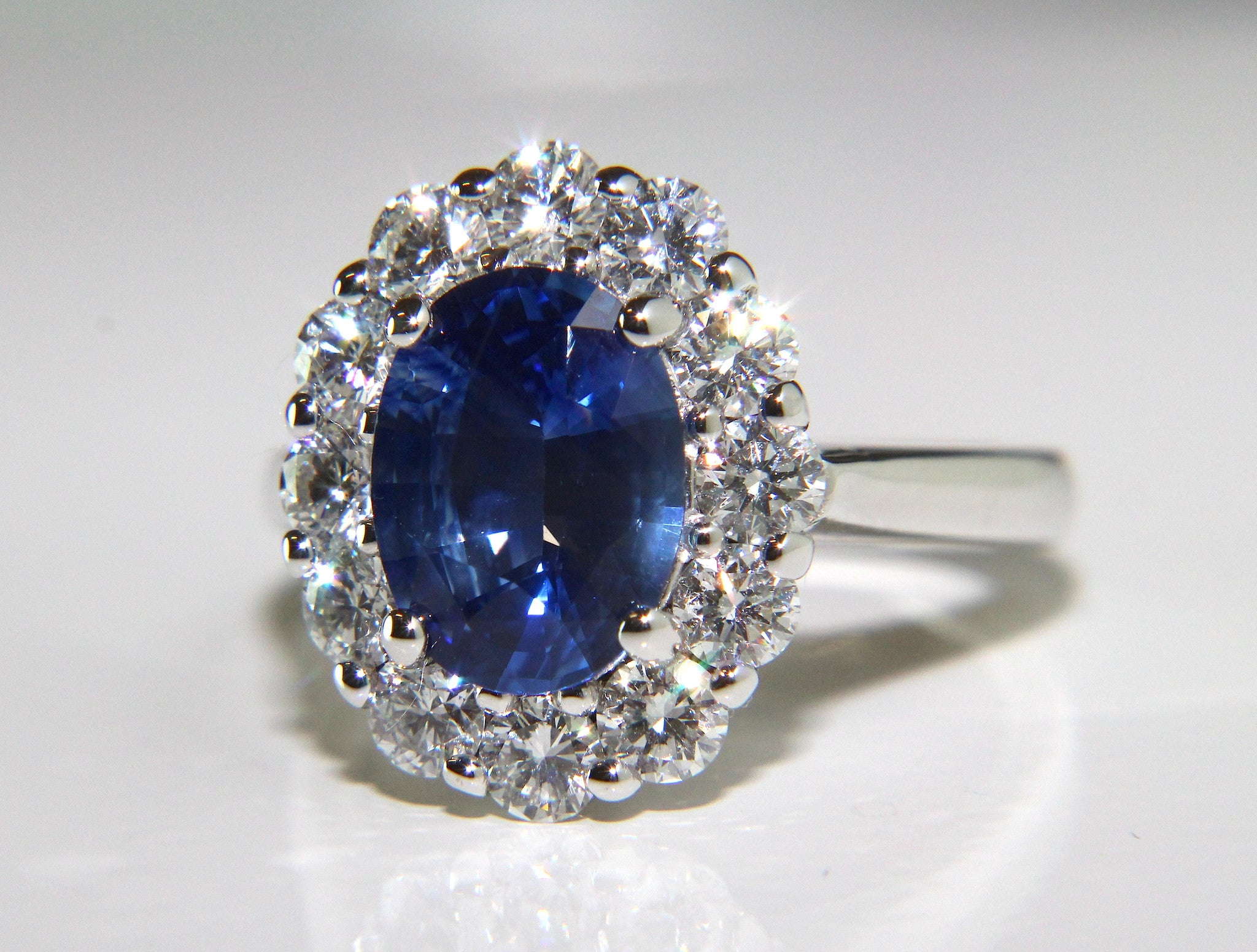 campbell oval blue sapphire diamond cluster engagement ring 4 39